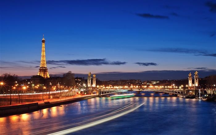 法国,巴黎,城市夜景,灯光,美丽的风景