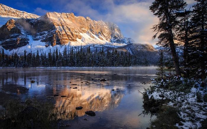 班夫国家公园,加拿大,洛矶山脉,湖泊,早上,水中的倒影