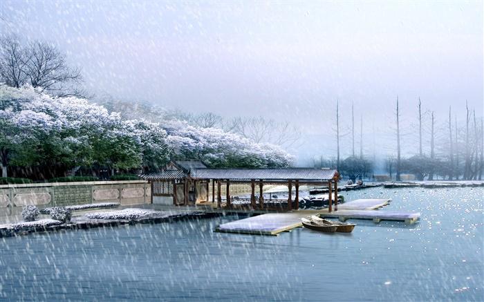 3d渲染的风景,码头,冬季,雪,树木,河流