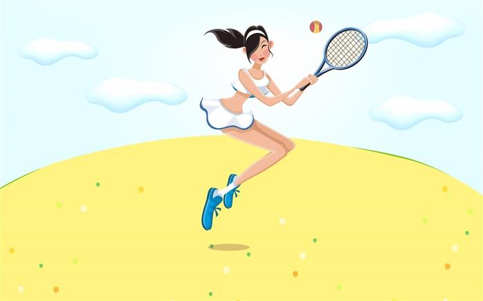 快乐的女孩打网球,夏天,矢量图片