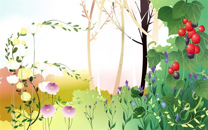 春天主题,树木,树叶,浆果,矢量图片图片