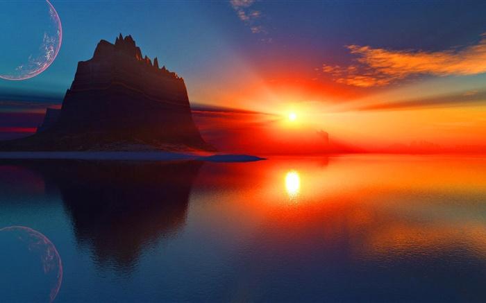 美丽的夕阳,红色的天空,云,太阳光线,海,山 高清壁纸   风景  桌面