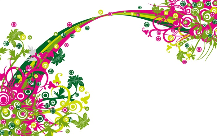 彩虹桥,花卉,矢量设计 壁纸 图片